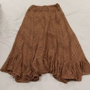 Solitaire Brown Lace Long Flowy Skirt Sz Small